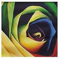 'Abstract Rose' - Colorful Expressionist Painting of a Rose from India