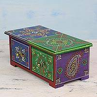 Mango wood decorative box, 'Colorful Daydream' - Handcrafted Multicolor Painted Mango Wood Decorative Box