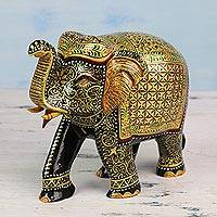 Wood sculpture, 'Royal Beauty' - Hand Carved Royal Elephant Sculpture of Indian Mango Wood