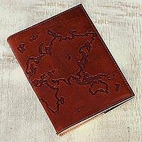 Leather journal, 'Map of the World' - Handmade World Map Leather Journal with Cotton Paper Pages