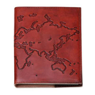 Handmade world map leather journal with cotton paper pages map of leather journal map of the world handmade world map leather journal with gumiabroncs Choice Image