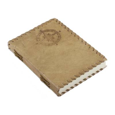 Leather journal, 'Compass' - Handmade Compass Rose Leather Journal with Cotton Pages