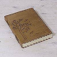 Leather journal, 'Arbor Bliss' - Handcrafted Leather Journal with Tree Image from India