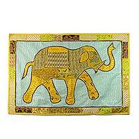 Patchwork wall hanging, 'Fabulous Elephant' - Recycled Patchwork Elephant Wall Hanging from India