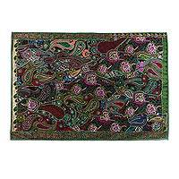 Patchwork wall hanging, 'Sea of Paisleys' - Recycled Patchwork Paisley Wall Hanging from India