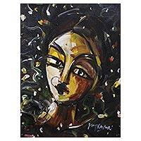 'To a Lady Unknown I' - Portrait of a Young Indian Lady in Expressionist Style