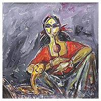 'Song for the Snake' - Signed Expressionist Painting of an Indian Snake Charmer