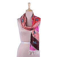 Hand painted silk scarf, 'Macher Biye in Pink' - Multicolored Silk Scarf with Fish Motifs from India