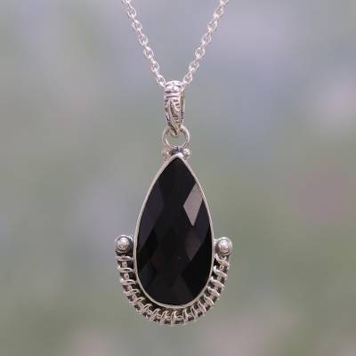Handmade Sterling Silver and Onyx Pendant Necklace