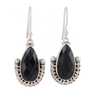 Handmade Onyx and Sterling Silver Dangle Earrings from India
