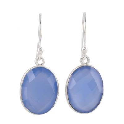 Handcrafted Chalcedony and Sterling Silver Dangle Earrings