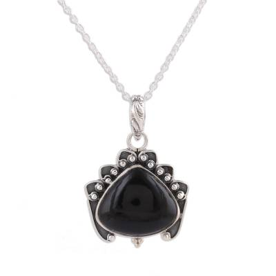 Handmade Onyx and Sterling Silver Pendant Necklace