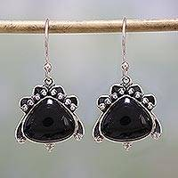 Onyx dangle earrings, 'Mysterious Allure' - Handmade Onyx and Sterling Silver Dangle Earrings