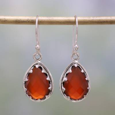 Carnelian dangle earrings, 'Firelight' - Carnelian and Sterling Silver Dangle Earrings from India