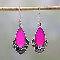 Chalcedony dangle earrings, 'Royal Radiance' - Pink Chalcedony and Sterling Silver Dangle Earrings