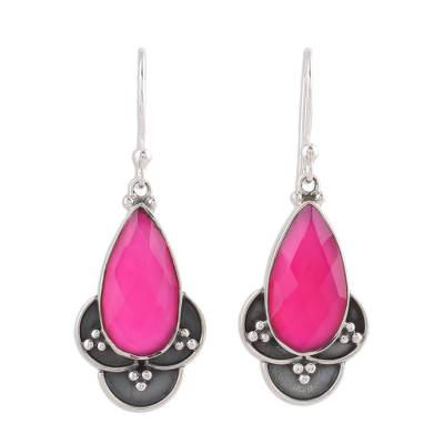 Pink Chalcedony and Sterling Silver Dangle Earrings