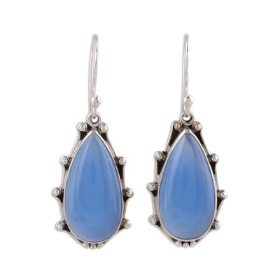 Fair Trade Sterling Silver and Blue Chalcedony Dangle Earrings