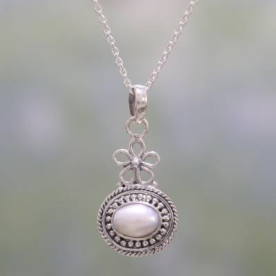 Cultured Pearl and Sterling Silver Pendant Necklace