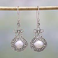 Cultured pearl dangle earrings, 'Pure Grace' - Cultured Pearl and Sterling Silver Dangle Earrings