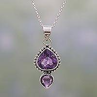 Amethyst pendant necklace, 'Lovely Radiance' - Amethyst and Sterling Silver Pendant Necklace from India