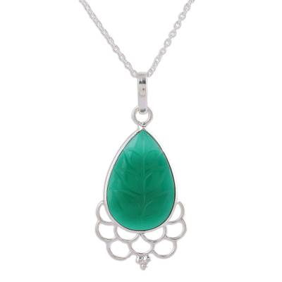 Green Onyx and Sterling Silver Pendant Necklace from India