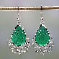 Onyx dangle earrings, 'Verdant Magnificence' - Green Onyx and Sterling Silver Dangle Earrings from India