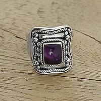 Amethyst cocktail ring, 'Purple Lasso' - Amethyst and Sterling Silver Cocktail Ring from India