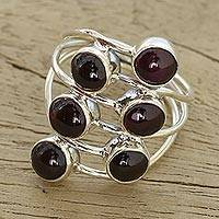 Garnet cocktail ring, 'Red Seeds' - Garnet and Sterling Silver Cocktail Ring from India