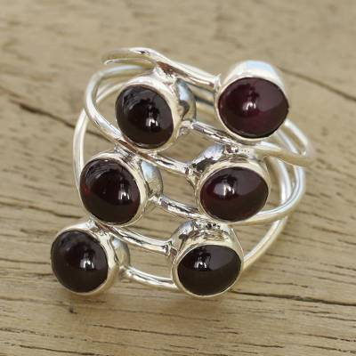 Garnet and Sterling Silver Cocktail Ring from India