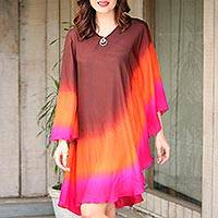Silk caftan, 'Rainbow Fusion' - Handmade 100% Silk Orange Pink and Brown Caftan from India