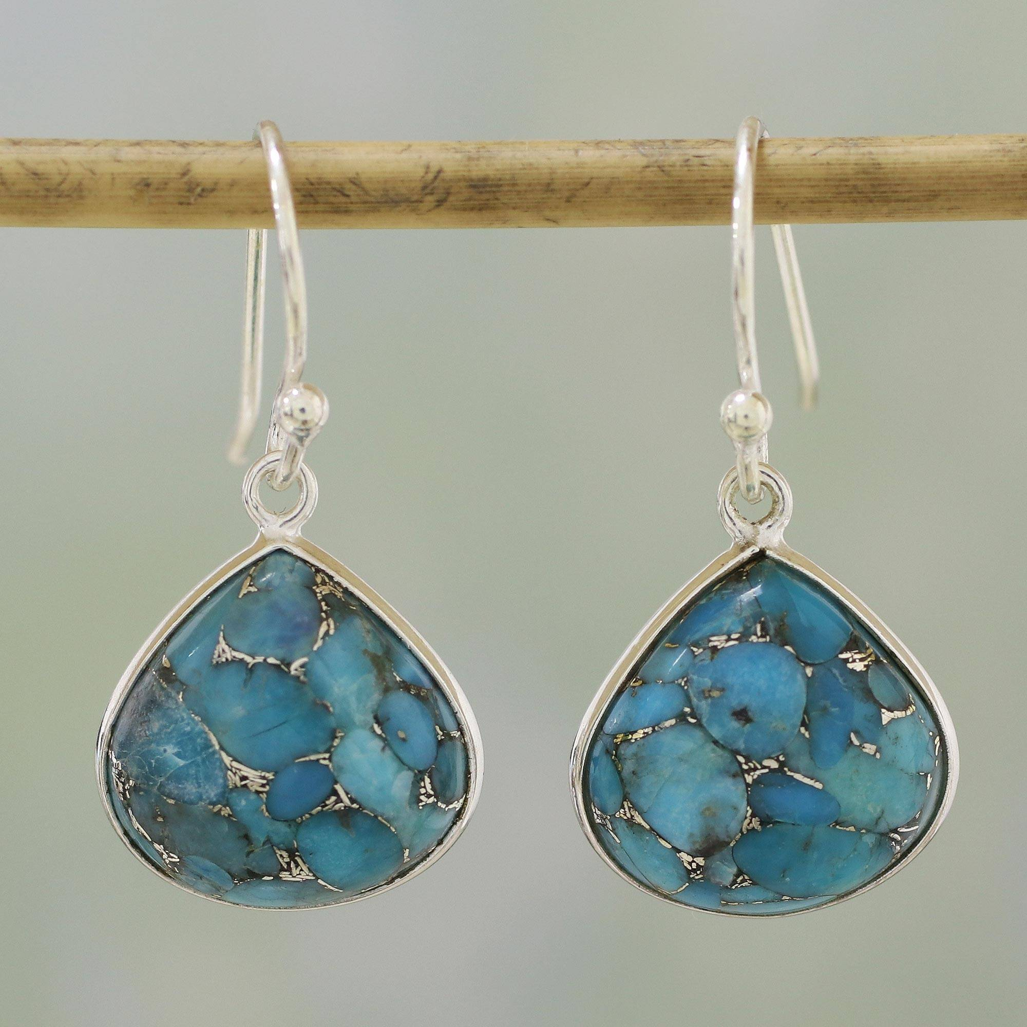 536f936b4 Sterling Silver and Composite Turquoise Earrings from India,