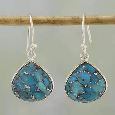 cc9b94367 UNICEF Market | Sterling Silver and Composite Turquoise Earrings from India  - Dancing Soul
