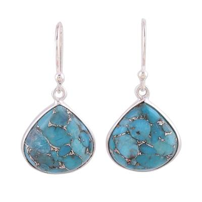 Sterling silver dangle earrings, 'Dancing Soul' - Sterling Silver and Composite Turquoise Earrings from India