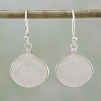 Rainbow moonstone dangle earrings, 'Dancing Soul' - Rainbow Moonstone and Sterling Silver Dangle Earrings