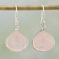Rose quartz dangle earrings, 'Dancing Soul' - Rose Quartz and Sterling Silver Dangle Earrings from India