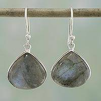 Labradorite dangle earrings, 'Dancing Soul' - Labradorite and Sterling Silver Dangle Earrings from India