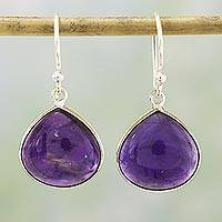 Amethyst dangle earrings, 'Dancing Soul' - Amethyst and Sterling Silver Dangle Earrings from India