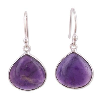 Amethyst dangle earrings, 'Dancing Soul' - Amethyst and Sterling Silver Dangle Earrings from India
