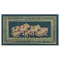 Miniature painting, 'Deep Green Royal Elephant Herd' - Indian Elephant Theme Mughal Miniature Painting on Silk