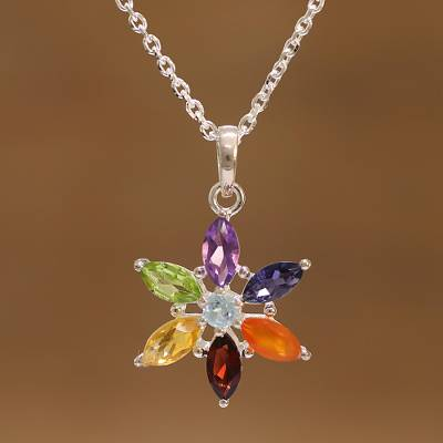 Multi-gemstone pendant necklace, 'Floral Chakra' - Multi-Gemstone Floral Pendant Necklace from India