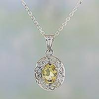 Citrine pendant necklace, 'Vine Sparkle' - Citrine and Sterling Silver Vine Pendant Necklace from India