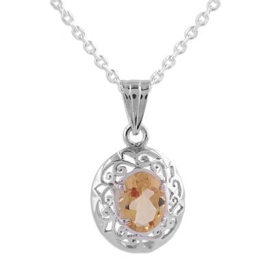 Citrine and Sterling Silver Vine Pendant Necklace from India