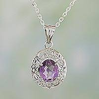 Amethyst pendant necklace, 'Vine Sparkle' - Amethyst and Sterling Silver Pendant Necklace from India