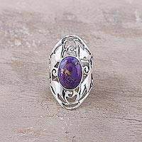 Sterling silver cocktail ring, 'Refined Purple' - Wide Sterling Silver Jali Ring with Purple Turquoise
