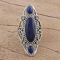 Lapis lazuli cocktail ring, 'Princess of Rajasthan' - Sterling Silver Lapis Lazuli and Blue Topaz Indian Ring