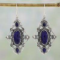 Lapis lazuli and blue topaz dangle earrings, 'Princess of Rajasthan' - India Artisan Crafted Lapis Lazuli Earrings with Blue Topaz