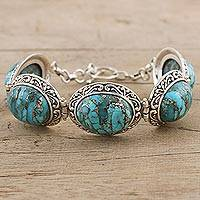 Sterling silver link bracelet, 'Blue Bliss' - Composite Turquoise and Sterling Silver Link Bracelet