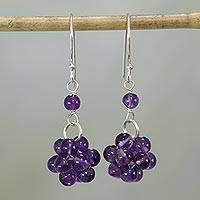 Amethyst dangle earrings, 'Regal Temptation' - Amethyst and Sterling Silver Dangle Earrings from India