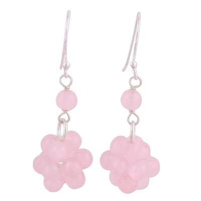 Rose Quartz and Sterling Silver Dangle Earrings from India