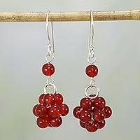Carnelian dangle earrings, 'Fiery Temptation' - Carnelian and Sterling Silver Dangle Earrings from India